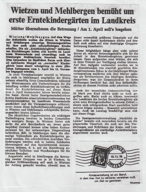 Die Harke, 10.11.1970©Kindergarten Tausendfüßler